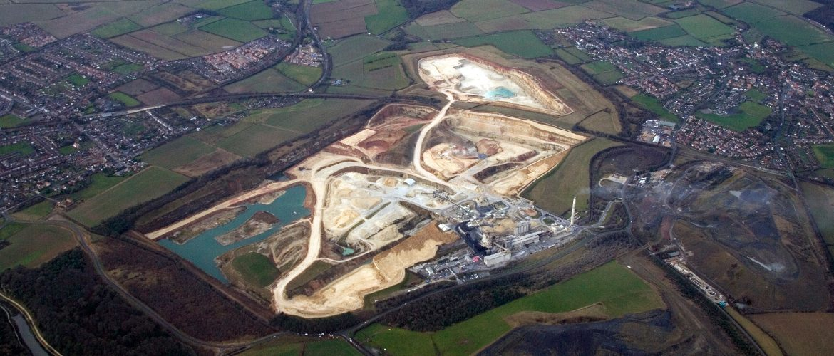 Aerial image of a working quarry taken by Mining Survey's light aircraft