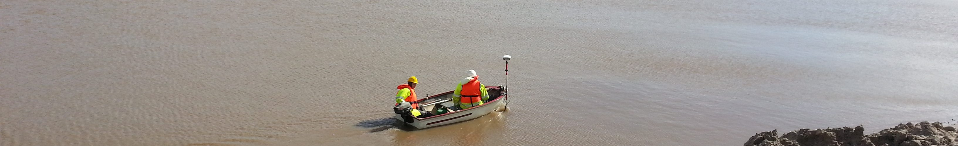 Sonar and GPS in use on a boat in a quarry
