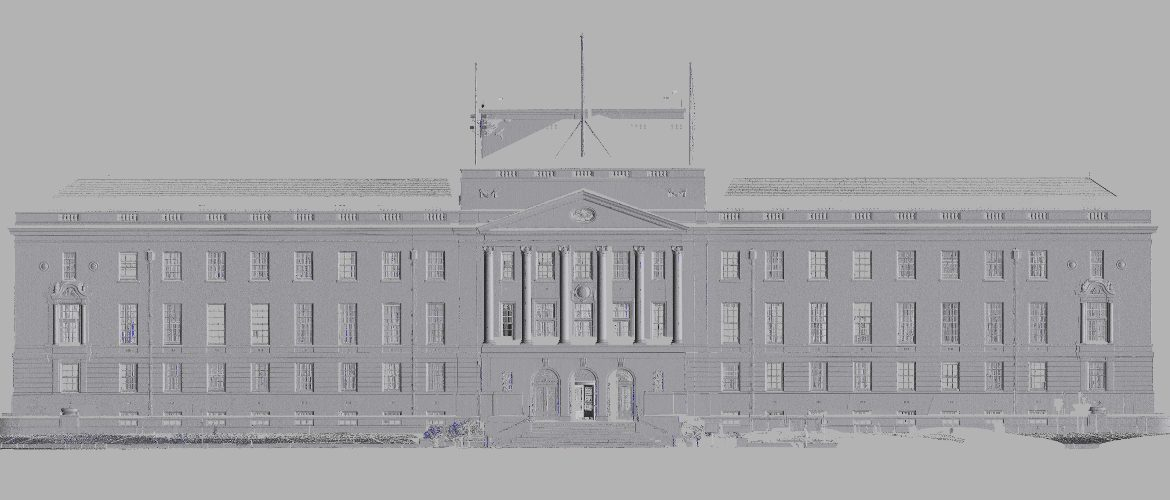 3D model turned into an elevation drawing of the front of a building